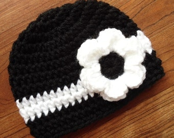 Crocheted Black & White Baby Girl Hat with Flower ~ Baby Shower Gift ~ Newborn Photo Prop ~ Newborn to 5T - MADE TO ORDER