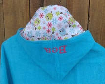 Girl hooded towel with owls and flowers, toddler hooded towel, kids bath towel, personalized kids beach towel, childrens towel