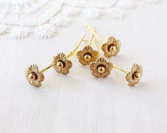 Gold Bridal Hair Pins, Flower Bobby Pins, Wedding Hair Pins, Small Bridal Pins, Gold Flower Clips, Wedding Bobby Pins, Gold Bridesmaid Pins