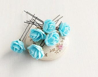 Light Blue Hair Pins, Rose Wedding Up Do Pins, Blue Rose Hair Pins, Bridal Bobby Pins, Something Blue Bridal Pins, Blue Hair Pins, Rose Pins