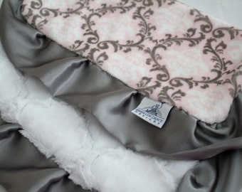 Damask Gray, Pink and White with Snow White Lattice and Charcoal Gray Satin Trim, Lovie, Lovey, Baby Shower, Stroller Blanket