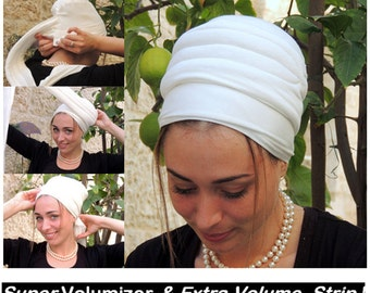 Super Volumizer & Extra Volume Strip-NEW-All In One Hat-Great under tichel,head scarves, chemo,head coverings volumizing hijab headpiece bun