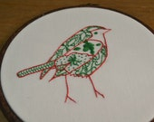 DIGITAL DOWNLOAD Christmas robin hand embroidery pattern