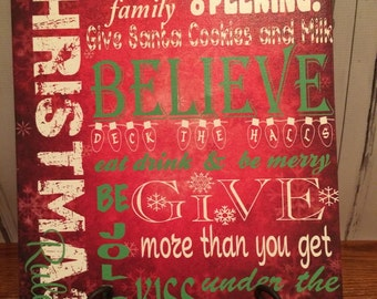 11x14 personalized family Christmas Rules canvas