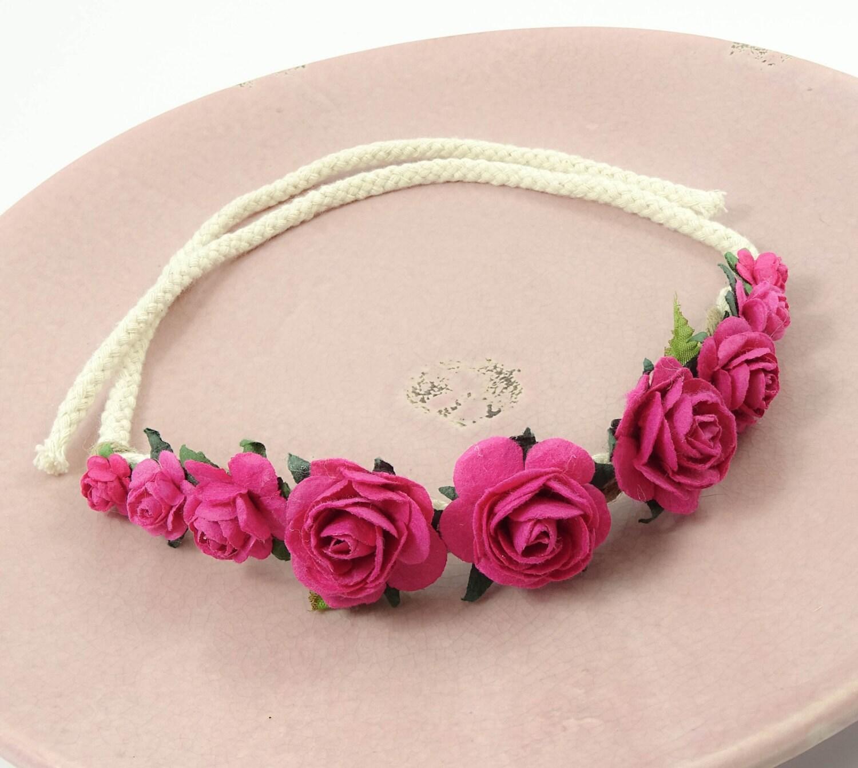 Fuchsia Pink Flowercrown Flower Headband Floral Crown Hippie Ibiza