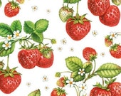 STRAWBERRY PLANT, 750+ Designs in Stock Premium Quality Decoupage Napkin, made in Germany. 3 ply 25cm