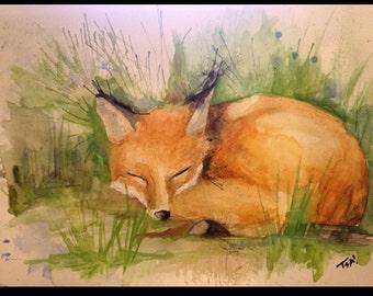 Sleepy Fox 9x12 Watercolor Painting
