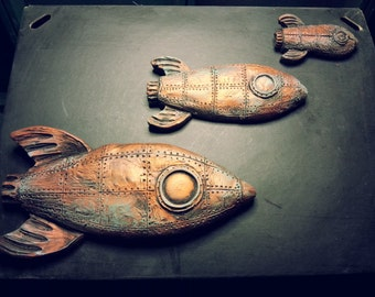 Steampunk Space Ships in 3 different sizes, wall plaques in the style of 50s Flying Geese, ducks