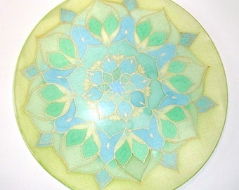 Mandala silk painting, green flower lotus, picture, meditation, yoga