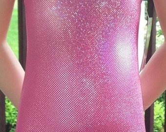 Girls Gymnastics Leotard, Sparkly Leotard, Girls Dancewear, Girls Sizes 2 to 10 -  Pink Sparkle Leotard - Gymnastics and Dance Leotard