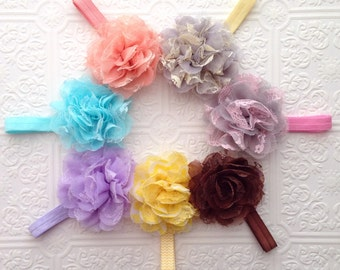 The Lacy Puff Headband or Hair Clip- Your Color Choice
