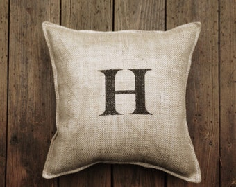 Painted Burlap Pillow --FREE SHIPPING--