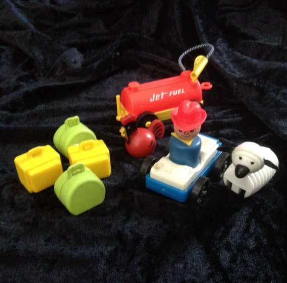 Vintage Fisher Price Car With Cowboy Jet By