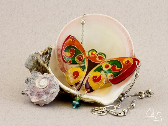 """CHRISTMAS SALE 25% off  """"Cheerful butterfly"""". Bright  multi-colored necklace. good mood and optimism. hand painted jewelery resin."""
