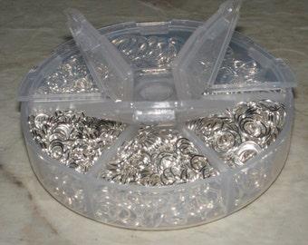 1 Box (1800) Asstd Open Jump Rings Silver Plated 4MM - 10MM