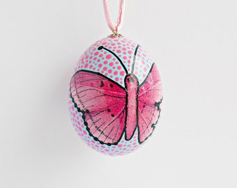 FREE SHIPPING, Handmade egg, Chicken egg shell, Easter home decorations, Easter decor, Butterfly, Pysanka, Pysanky, Pink, Blue, Black,