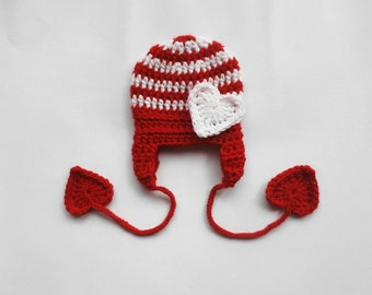 Christmas Baby Striped Hat , Be My Valentines Hat , Baby Christmas Photo Prop Hat