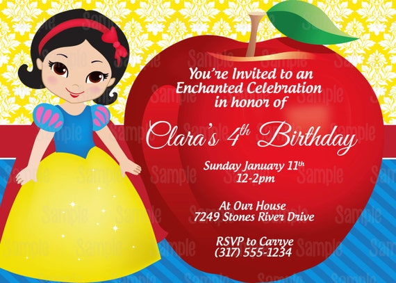 Universal image in snow white invitations printable