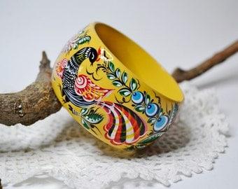 Hand painted Bangle Wooden Bracelet Russian folk art Gorodets painting.Made to order.