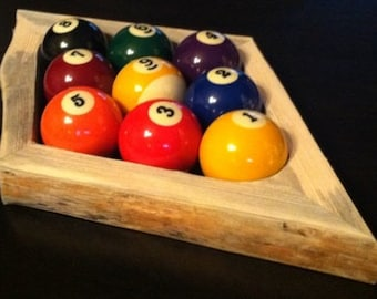 Rustic 9-Ball Pool Rack - Live Edge - Natural Edge - Rustic Pool Table 9 Ball Rack (Pool Balls Not Included)