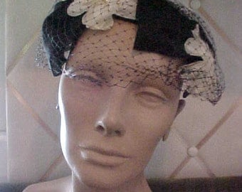 Vintage  Black Hat with Large White Flowers and Veil