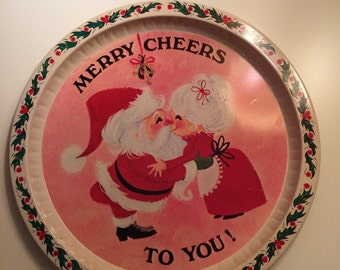 Merry Cheers To You Christmas Santa Tray