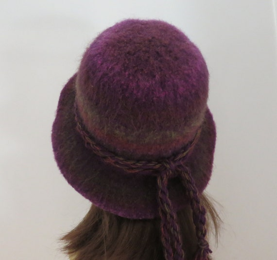 Felted Hat Knitting Pattern : Felted Hat Pattern #203 Flat Brim Hat, Felt Hat, Knitting Pattern, Felting Pa...