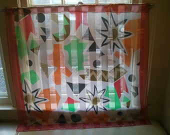 Altered Colorful Acetate Scarf into Window Curtain with plastic beads holder
