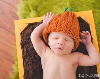 Baby Pumpkin Hat, Halloween Baby Hat Photo Prop Newborn, Knit baby pumpkin hat, crochet baby pumpkin hat, newborn photography prop