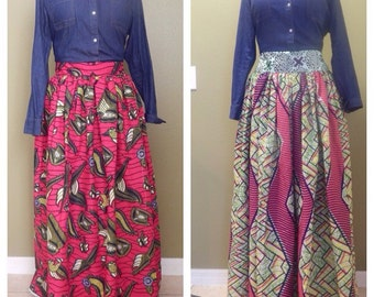 "PLUS SIZE African clothing, Skirt, ""Ella"" African Print Skirt"