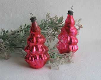 Soviet Christmas tree decorations,Set of 2 Christmas Glass Ornaments - Made in USSR
