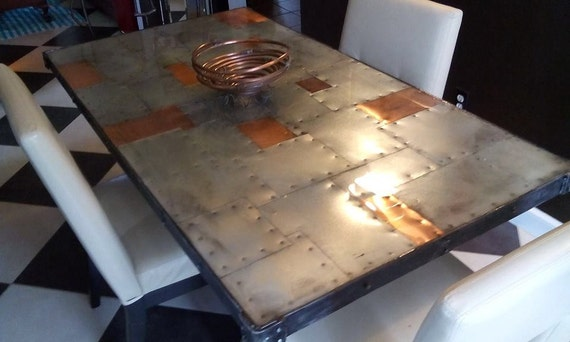 Copper amp Zinc Dining Table Rustic and Modern Riveted : il570xN7038418713559 from etsy.com size 570 x 342 jpeg 38kB