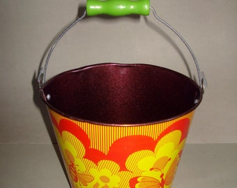 Vintage old Russian Soviet Tin Toy Sand Pail  NORMA with Bee and Butterfly