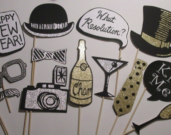 New Years Eve Party Photo Booth Props  Made with Lots Glitter Paper-Order by Monday to receive by Thursday. Ships Priority Mail!
