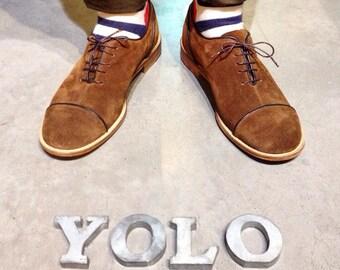 Mens Shoes - Mens Oxford Shoes - Brown shoes - Flat Shoes - Brown Leather Shoes - Brown Suede Shoes - Brown Flats