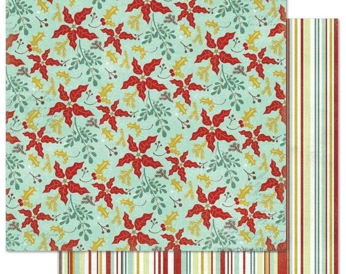 2 Sheets of My Mind's Eye MISTLETOE MAGIC 12x12 Christmas Scrapbook Paper - Mistletoe