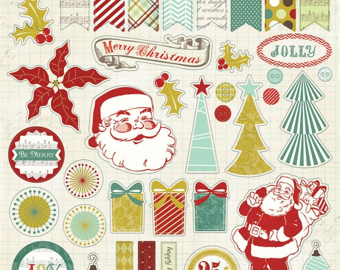 1 Sheet of My Mind's Eye MISTLETOE MAGIC 12x12 Christmas Chipboard Elements
