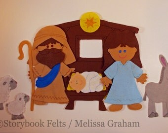 Shop Closing Sale - Felt Doll Outfit Nativity Set Mary Joseph Wise Man Angel Manger Doll Dress Up