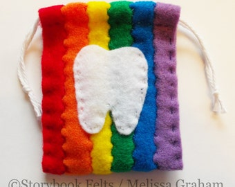 SHOP CLOSING SALE Rainbow Striped Tooth Fairy Pouch Hand Sewn
