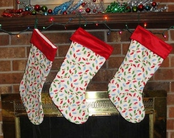 Christmas Stocking/ White Christmas Stockings/ Winter/ Family Christmas/ Christmas Traditions/ Holiday Stockings