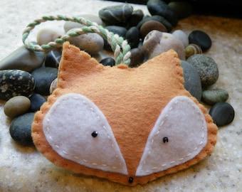 Fox Christmas Ornament, wool felt, hand-stitched