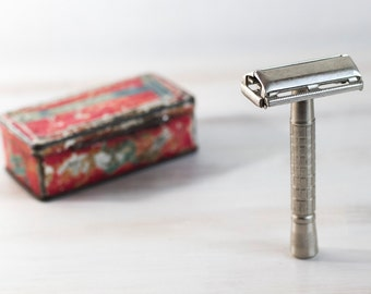 Vintage 60s Man Shaver Rotbard British Made Silver Slim Double Edge Safety Razor Traditional Wet Shaving  Gift For Him, ohtteam
