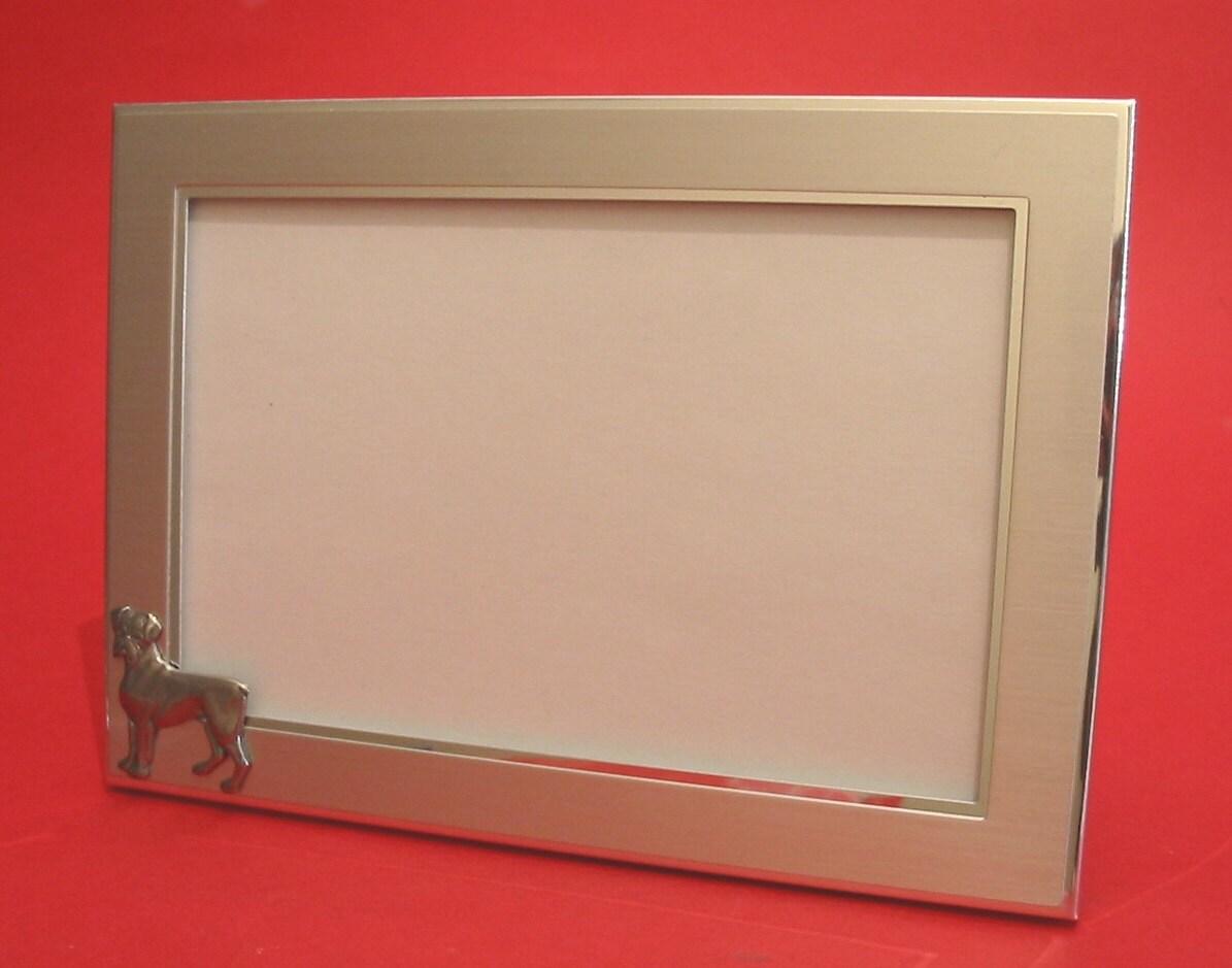 boxer dog landscape picture frame 4 x 6 with hand. Black Bedroom Furniture Sets. Home Design Ideas