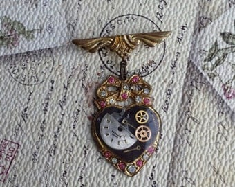 Steampunk Upcycled Vintage Brooch,  Sweetheart Brooch, Heart Brooch