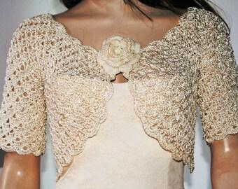 Wedding Bridal Bolero Shrug Lace Crochet Shrug Boleros Ivory