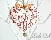 Hand Embroidered Hanging Heart Rustic Merry Christmas Decoration Cottage Style Cotton Fabric