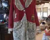 Plus Size Southwest Boho Women's Clothing Upcycled Size Orange Red
