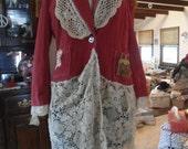Plus Size Southwest Boho Women's Clothing Upcycled Size Orange Red