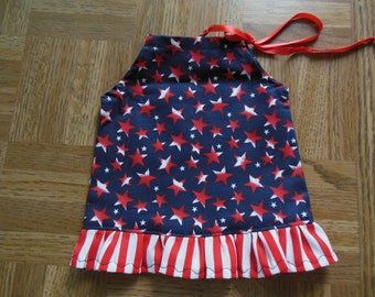 Patriotic Pillowcase Dress with Ruffle Trim for American Girl