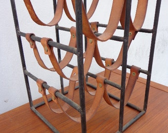 Epic Arthur Arthur Umanoff 6 Bottle Leather Iron Wine Rack Holder Mid Century Modern MCM Serving Bar Glassware Vintage midcentury leather